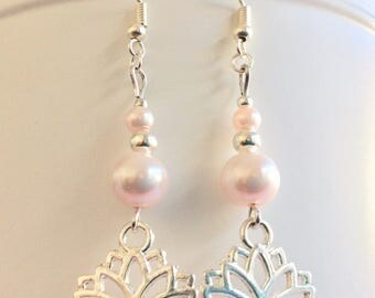 Lotus Flower Earrings // Blush Pink