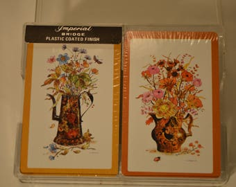 Vintage Bridge Imperial Playing Cards, Orange Teapot with Flower Design, In Case by Western Publishing Plastic Coated Sealed w/ Storage Case