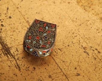 Silver Tin can enamel-inlay work 20s-925 stamp-for pills or powder