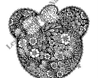 Mandala Inspiration Minnie à colorier et à imprimer vous-même - mandala - zentangle - anti-stress - fait main - coloriage - détente