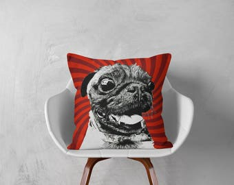 Pug, Pug Pillow, Pug Gift,Decorative Pillow, Dog Pillowcase, Personalized Pet,Gift Love this Holiday or Just Brag About Your Pet.