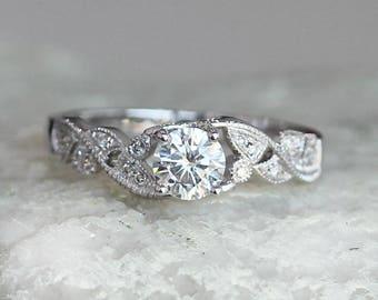 14k White Gold Ring Oval Cut 5mm  Moissanite Ring Engagement Ring Diamond Ring Wedding Ring  anniversary ring Classic Moissanite