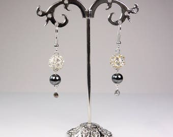 Rhinestones and hematite earrings