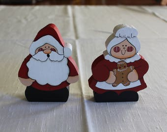 Tole Painted Mr and Mrs Santa