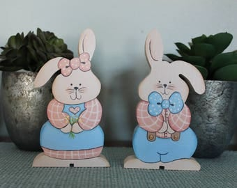 Wood painted Spring/Easter Bunnies