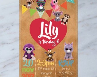 Personalised Ty Beanie Boos Kids Birthday Party Invitation Invite DIGITAL You Print