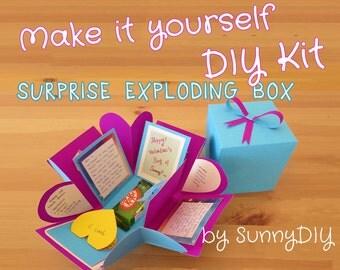 Duo color Surprise Exploding Box DIY Kit with Instructions - 2 Colour Options