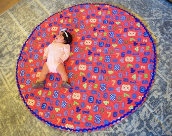 Playmat | Round Playmat | Baby Playmat | Baby Shower Gifts | Baby Girl Gifts | Baby Boy Gifts | Birthday Gifts | Quilted Playmat | Baby
