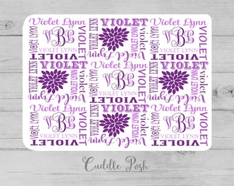Baby Girl Name Blanket, Swaddle Initial Blanket, PURPLE Floral Blanket Pillow Set, Personalized Purple Nursery -Newborn Shower Gift