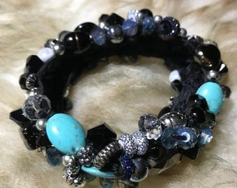 Moonlit Path Bracelet - Handmade Gifts for Her - Black and Turquoise Bead and Stone Bracelet