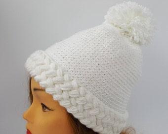 white hat women, white knit hat,white hand-knit hat ,white winter hat,handmade knit hat,winter hat pompom,winter hat, winter hat woman