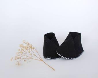 Black Felt Baby Shoes