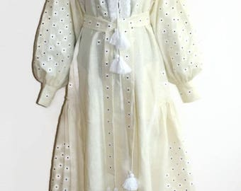 Vishivanka Vyshyvanka Dress Boho Ukrainian Dresses Bohemian Clothing Ethnic Ukrainian Embroidery Chic Nationale Linen Boho Dress Embroidered