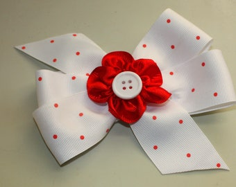 Hair Bow, White with red flower center, Girls Hair Bow, Alligator Clip