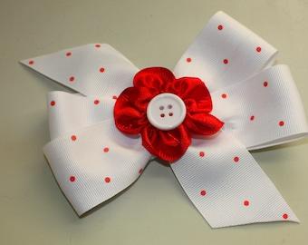 Hair Bow, White with red flower center, Girls Hair Bow, Alligator Clip