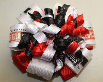 Georgia Bulldog hair bow, Red white and black, korker bow