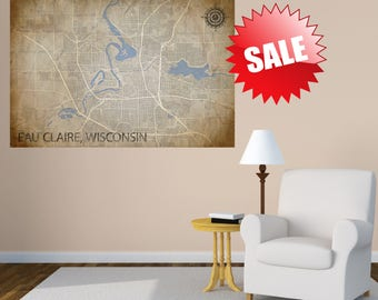 EAU CLAIRE Wisconsin CANVAS Map Eau Claire Wisconsin Art Print Eau Claire Wisconsin Poster City Map Vintage Map Large Wall Canvas Giclee