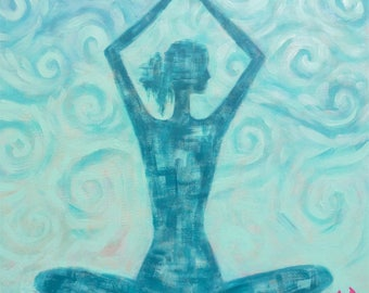 "Meditation Lotuzia yoga, woman, Buddha, giclee print 20 ""X 32"""