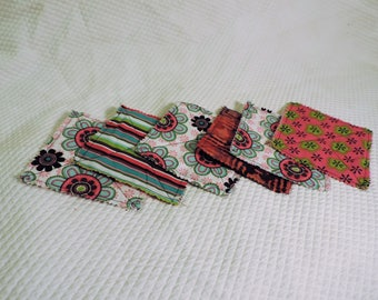Quilted Coasters, Set of 6, FREE SHIPPING -- Handmade Reversible Cotton-- Absorbent Mug Rugs