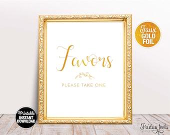 Favors Wedding Sign, Printable Wedding Poster, Gold look Script font, Instant Download, WS02