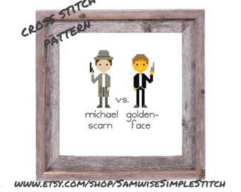The Office, Michael Scarn vs. Goldenface cross stitch PATTERN