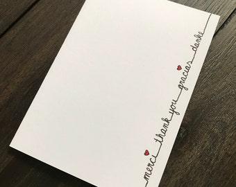 Thank you Card-Four languages: merci-Thank you-gracias-Thank you
