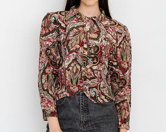 VINTAGE Colourful Leaf Long Sleeve Retro Shirt