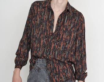 VINTAGE Colourful Stripped Long Sleeve Button Downs Retro Shirt