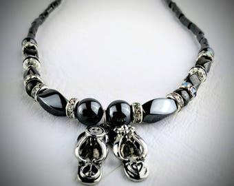 Flip flop necklace, seventies flip flop necklace, peace symbol, flower power, smiley face, black necklace