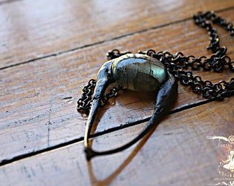 Angrboða | ALGIZ | Winter Collection | Pheasant Bones | Wishbone | Labradorite | Witch Necklace | Viking Necklace | Goth | Viking Jwellery