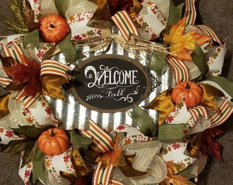 Welcome Fall Sign Autumn Mesh Ribbon Wreath