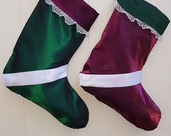 Pair of Hand Made Christmas Stocking with Vintage Fabrics and Traditional Style!