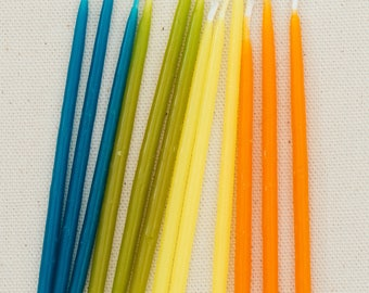 Beeswax Birthday Candles - Neons