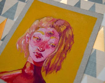 Small paintings- cardboard,acrilic gouache,original,witch, third eye, girls,art,present,gift,portrait,fantasy,gouche,yellow,red,blue,violet