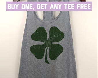 SALE TODAY: 4 Leaf Clover Irish Funny St Patrick's Day Tank Top, St Paddy's Beer Clover Ladies Racerback Tank, Fitness Yoga Tanks