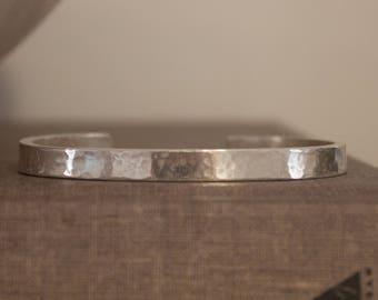 Handcrafted Pure Silver Bracelet, Bangle, Hammered Silver Bracelet, Men's and Women's, Medium