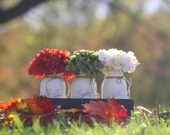 Table Centerpiece,Mason Jar Centerpiece,Painted Mason Jars,Rustic Country Home Decor,Mason Jar Decor,Home Decor,Farmhouse Decor,Vintage