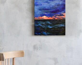Original oil painting Colorful art Sea painting Thunderstorm painting Night oil painting Clouds Thunderstorm Classic painting Wall Art