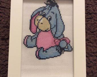 Handmade Eeyore Cross Stitch in Frame