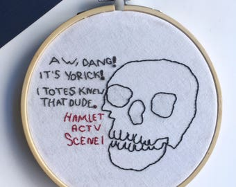 """Hamlet Reflections // 5"""" Hand Embroidered Hoop"""