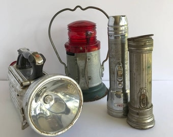 Vintage flashlight and lantern collection - Eveready, U.S. Industries, Delta, Ash Flash - Railroad lantern Antique flashlights  Collection