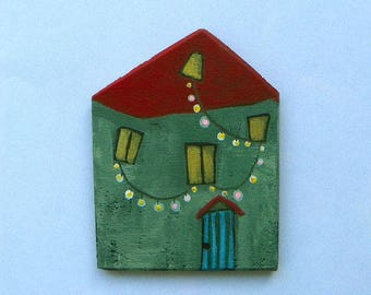 Small house Magnet-magnet, illustration, wood