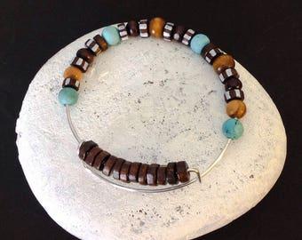 Wood and Turquoise Bracelet, Unisex boho bracelet, Stackable bangle, Semiprecious stones, Gemstone bangle, Men's stackable, Beach bracelet
