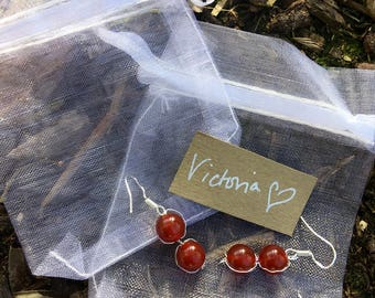 The 'Victoria' Handmade semi precious red Carnelian and silver wire earrings.
