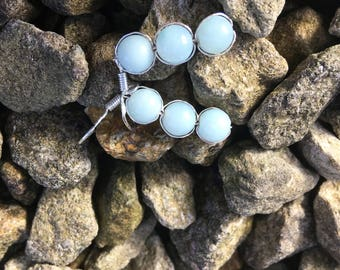 The 'Grace' Handmade semi precious mint amazonite and silver hook earrings.