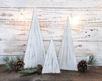 Set of 3 white wooden christmas trees, winter centerpiece, rustic winter decor - farmhouse christmas