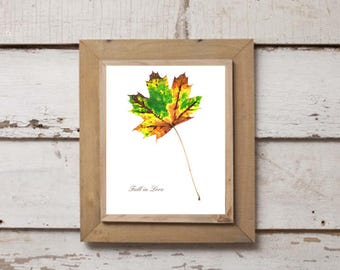 "Printable Download ""Fall in Love"" Leaf Design 2 of 3, Fall Printable, Fall Wall Decor, Fall Love, Graphic Leaf, Autumn Leaf, Gallery Wall"