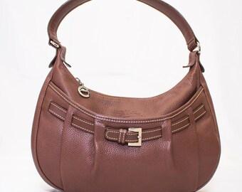 Vintage LONGCHAMP Brown Leather Shoulder Bag