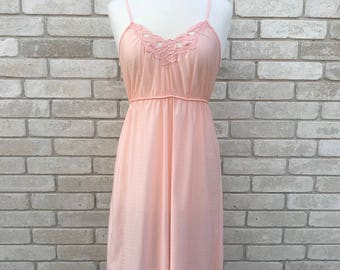 Vintage 60's Apricot Sheer Nightgown with Cutwork Floral Embroidery