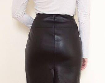 Club Monaco Faux Leather Brown Skirt